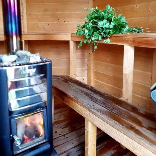 inside the wood heated sauna
